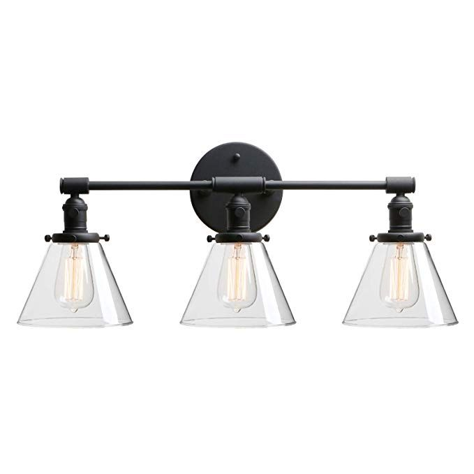 Phansthy Bathroom Vanity Lamp Black Wall Sconce Light Fixture With 7 3 Cone Clear Glass Canopy Black Wall Lights Sconces Wall Sconce Lighting