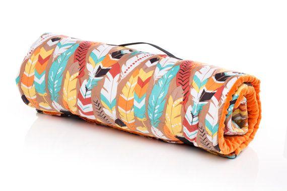 Native Feathers Boy Nap Mat / Sleeping Mat. Preschool mat, kindergarten mat, day care mat, sleeping bag. With full size minky blanket and built in pillow. Machine Washable. USA Made by Elonka Nichole