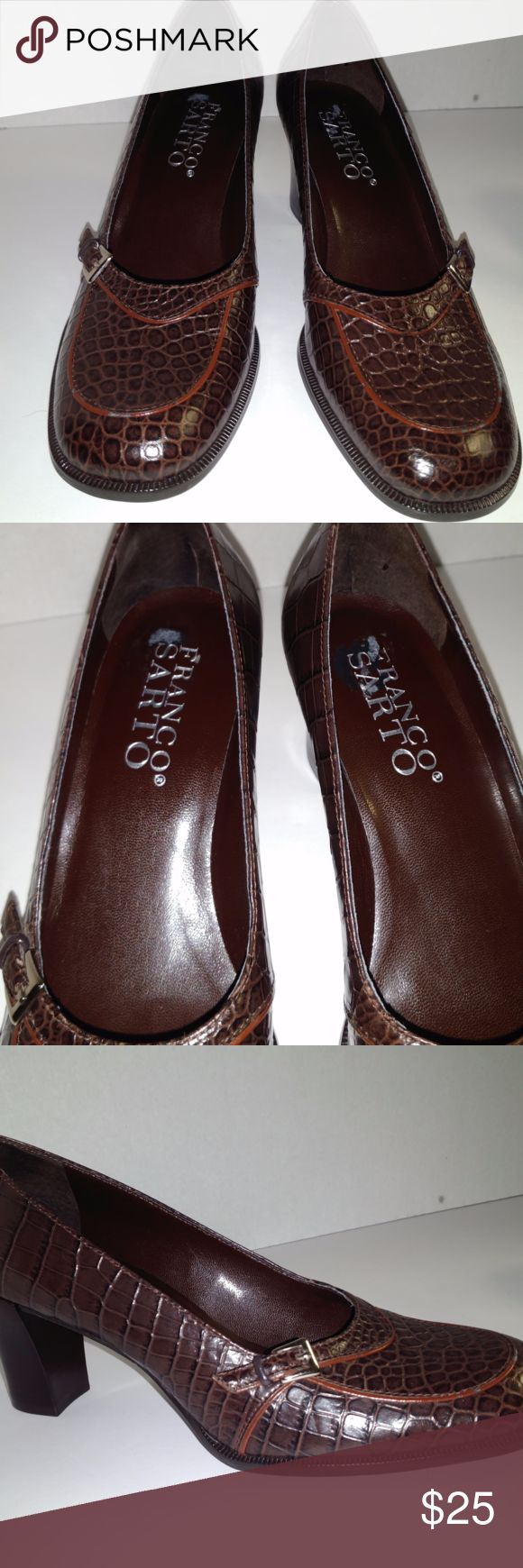 Franco Sarto Embossed Brown Leather Pumps- Size 6M Franco Sarto Embossed Brown Leather Heels  Style:Pumps	 Material: Leather Upper/Manmade Sole Brand: Franco Sarto Fastening: Slip On US Shoe Size (Women's):	6	 Width:	Medium (B, M)	 Heel Height: High (3 in. and Up) Heel Type: Stacked Color: Brown Pattern: Faux Embossed Croc Franco Sarto Shoes Heels