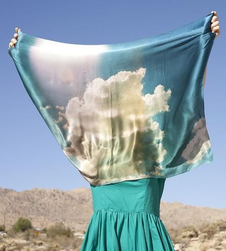 This Desert Clouds scarf is handmade from 100% silk and digitally printed with colorfast blue and white ink.