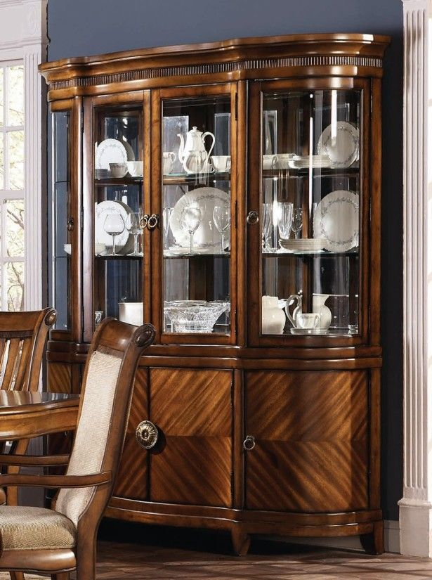 Dining Room Magnificent Design With Varnished Wooden China Cabinet Blue Wall Chairs