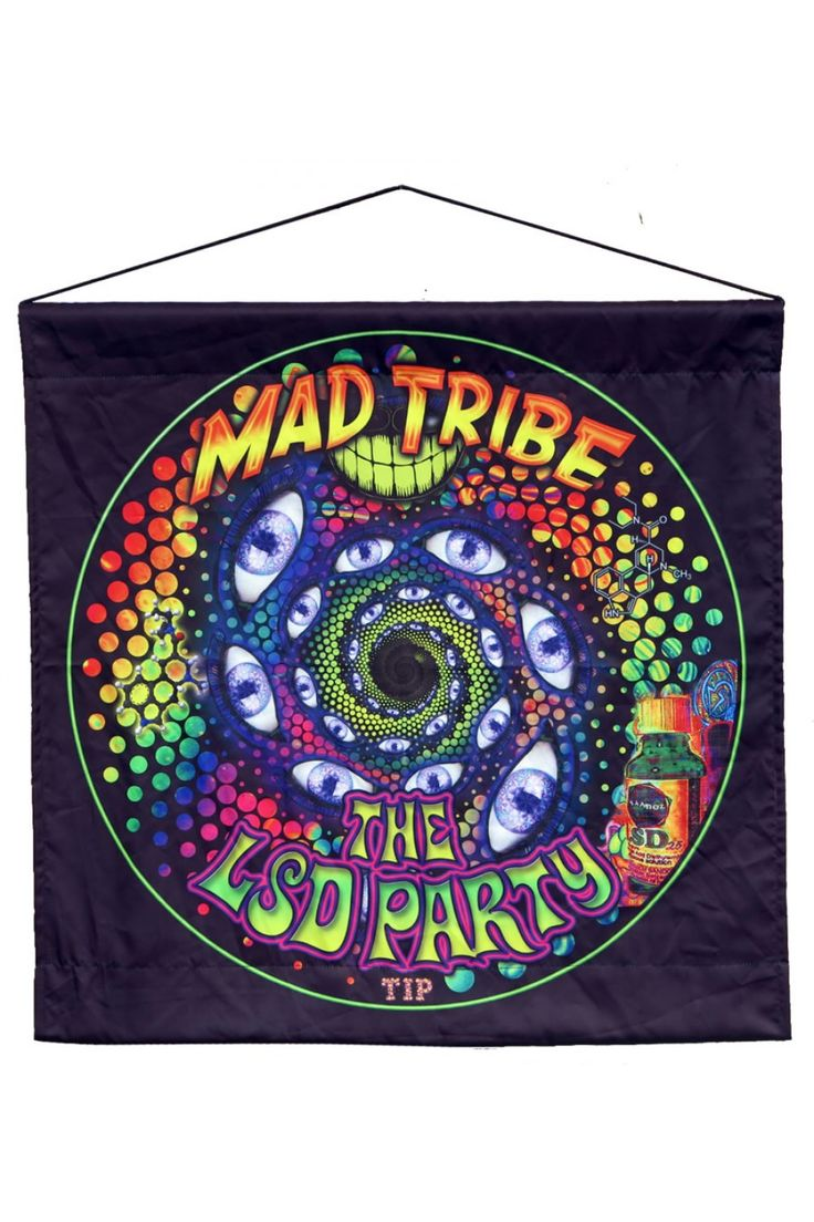 Sublime Hanging : LSD Party Sublimation print microfibre wall hanging / tapestry. Size approx 65 cm x 65 cm. Digitally printed on Microfibre. Easy to hang ! Hanging kit included. Just put the tube thru the tunnel at the top of the wallhanging. Artwork by Space Tribe