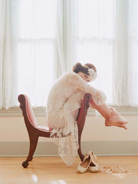 Bridal portrait with ballet shoes and antique chair (Elizabeth Messina)