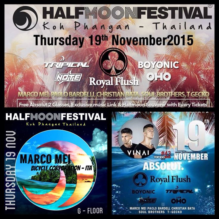 Very happy to play this thursday 19 Nov at Halfmoon Festival - Koh Phangan , Thailand