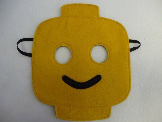 Hand finished lego head inspired mask/toy/dress up/costume for children on Etsy, $10.37