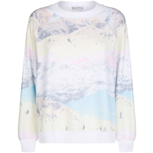 Wildfox Ski Slopes Sweatshirt ($175) ❤ liked on Polyvore featuring tops, hoodies, sweatshirts, rainbow top, ski sweatshirt, ski tops, slouchy tops and rainbow sweatshirt