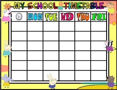 timetable layout for school