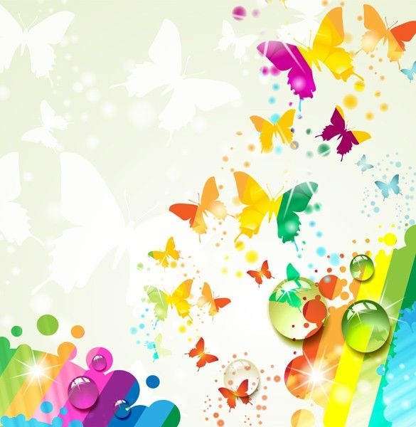 XOO Plate :: Rainbow Butterfly Abstract Vector Background - Colorful ...