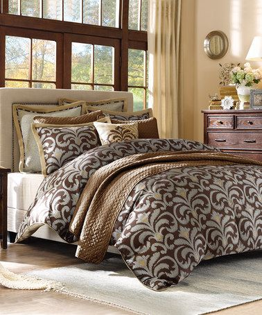 Another great find on #zulily! Brown & Gold Comforter Set #zulilyfinds