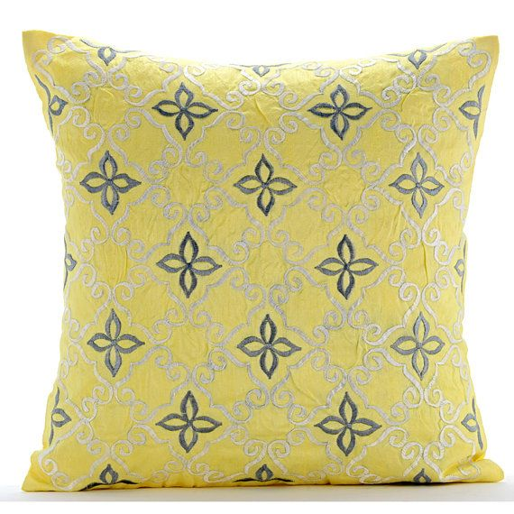 Handmade Yellow Throw Pillows Cover For Couch by TheHomeCentric