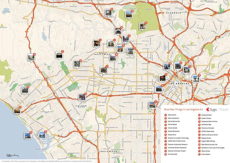 Los Angeles Printable Tourist Map