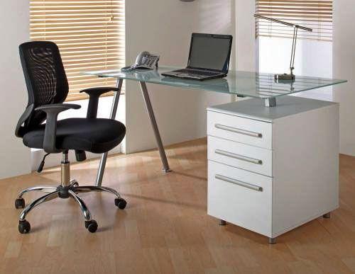Alphason Cleveland 3 White Glass Computer Desks