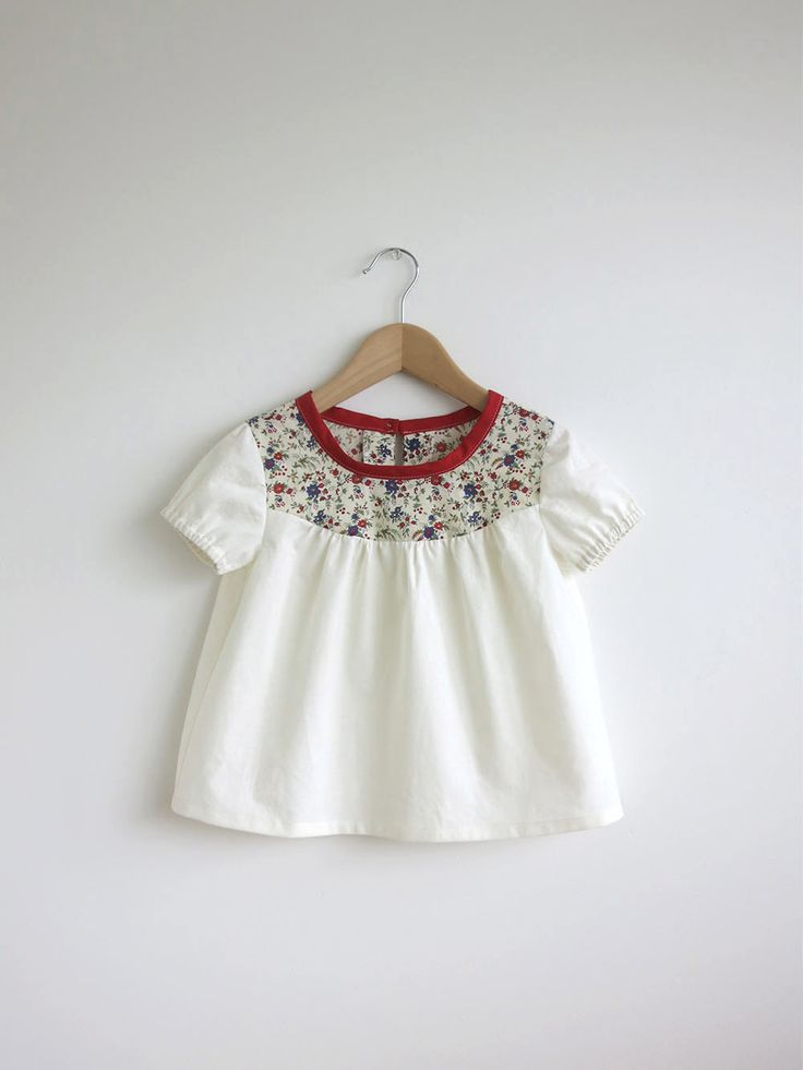 ivory cotton blouse with Liberty detail by SwallowsReturn on Etsy