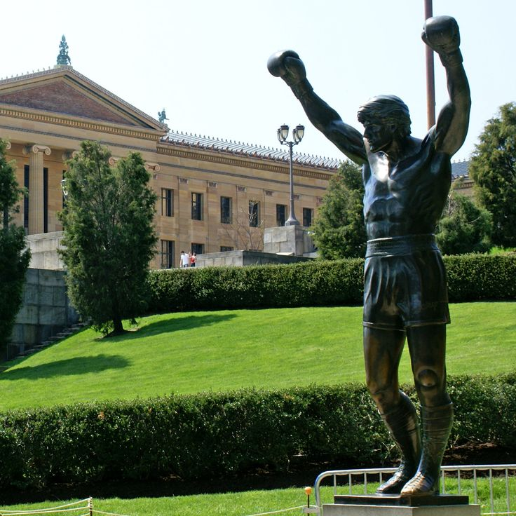 "In the movie ""Rocky III"" (1982), a massive statue of Philadelphia fighter Rocky Balboa, arms raised in triumph, is unveiled in the courtyard of the Museum of Art. In real life, actor Sylvester Stallone presented the statue to the City of Philadelphia."