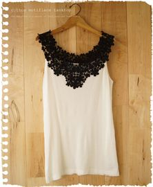 add lace on tank - repurpose Lace from the flohmarkt sewed to top of cut off shirt, adds length