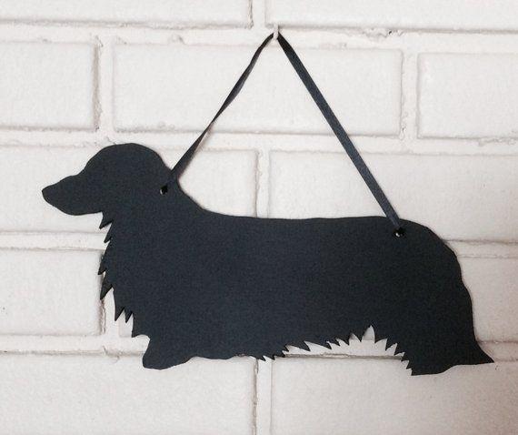 Long Hair Dachshund Handmade Long Haired Weiner Dog Wall Hanging