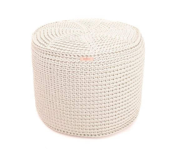 handmade crocheted KING size POUF/ poliester pouf/ floor cushion/ hypoalergic pouf/rope poof/bean bag chair/ Ottoman/ rustic pouf  - made from 100 % poliester rope - WHAY POLIESTER ? - because it is very sturdy and durable , hypo-allergenic, do not attract dust  - pouf has a very nice and quite rough texture, rustic look. But it is very enjoyable to sit on, kids love it so much  - Inside is very sturdysewed tapestry pouf with zipper, filled with polystyrene&...