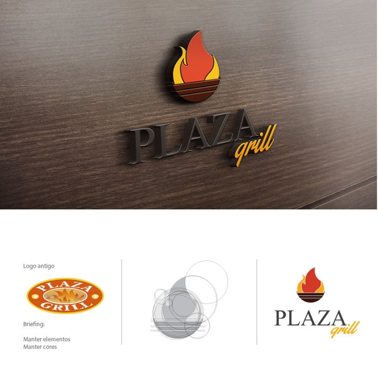 Redesenho do logotipo do Restaurante Plaza Grilll. #Logo #Logotipo #Marca
