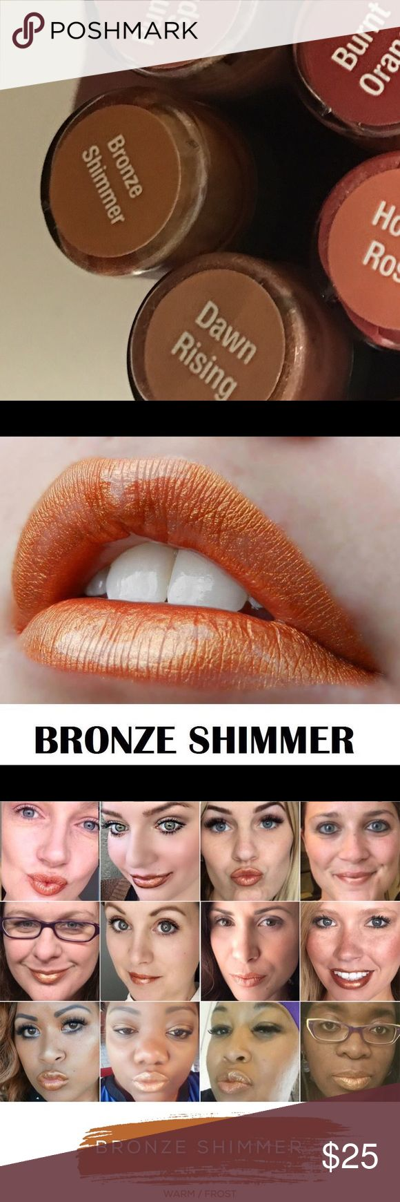 LipSense BRONZE SHIMMER Waterproof Lipstick 4-18 hour waterproof, smudge-proof, smear-proof, Kiss-proof, life-proof, vegan, gluten-free, lead-free AMAZING lipstick in Bronze Shimmer! LipSense Makeup Lipstick