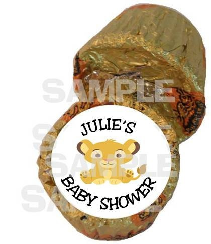 Lion King Baby Simba personalized peanut butter cup labels Baby Shower Party Favor. $6.99, via Etsy.