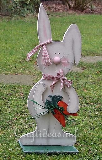 Wood Crafts - Large Wooden Standing Bunny with Carrots Patterns for all different kinds of crafts and all Holidays...  :)