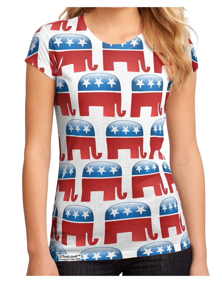 TooLoud Republican Symbol All Over Juniors Petite Sub Tee Dual Sided All Over Print