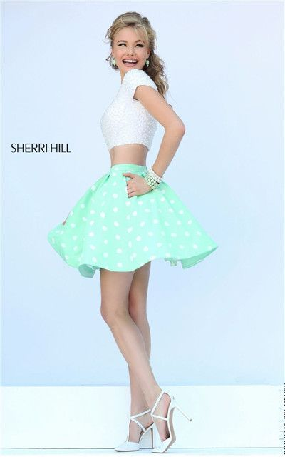 Sherri Hill 32247 Two Piece Beads Polka Dot Short Dresses For Homecoming With Sleeves