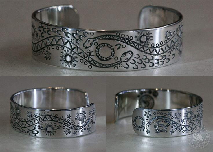 'Summertime Dreaming' Solid sterling silver cuff with hand carved design with an aboriginal art styling tribute.
