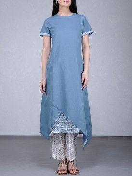Blue Asymmetrical Hem Cotton Linen Kurta with Printed Cotton Slip (Set of 2)