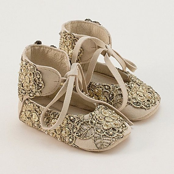 Leather baby shoes with golden lace on Etsy, $55.00