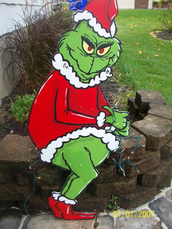 Grinch Christmas Lights Yard Art by sweetpeapaint on Etsy