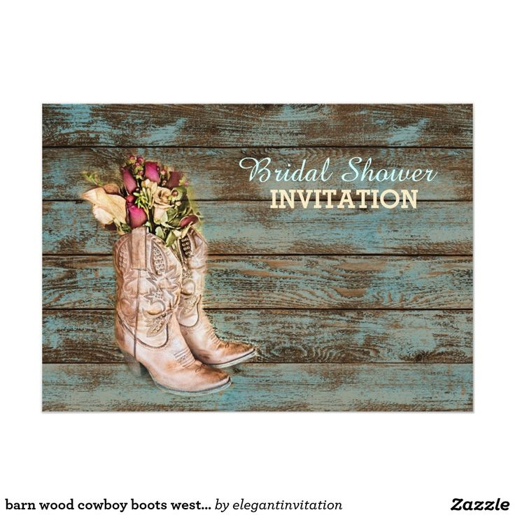 barn wood cowboy boots western bridal shower 5x7 paper invitation card