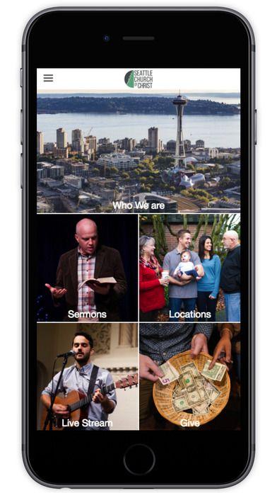 Seattle Church of Christ's custom church app built by Tithe.ly - #churchapps.  Get a custom church app for you church - $0 setup and $0 for first six months!  http://get.tithe.ly/mobile-church-app/ #mobileapp #churchapp #mobiledesign #appdesign #appsforchurches #churchapps