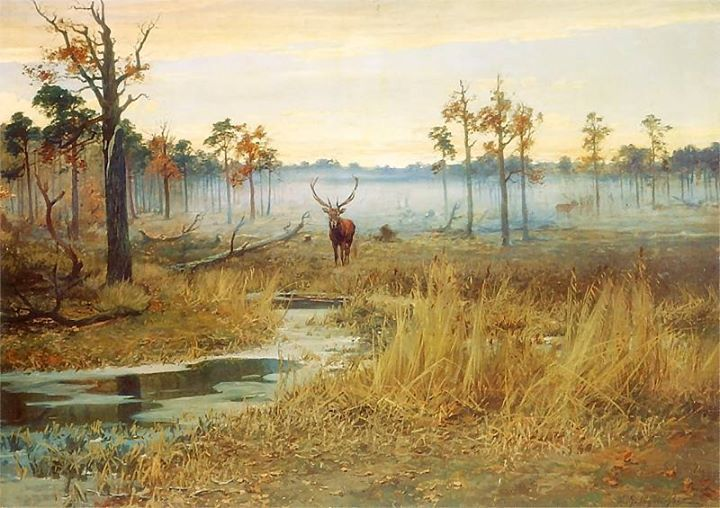 Michał Gorstkin-Wywiórski - Morning Landscape with Deer, oil on canvas, 142 x 200 cm, 1902, National Museum in Poznan.