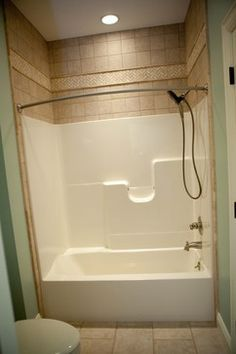 Tile above Shower Surround | Fiberglass Tub Shower Design Ideas, Pictures, Remodel, and Decor