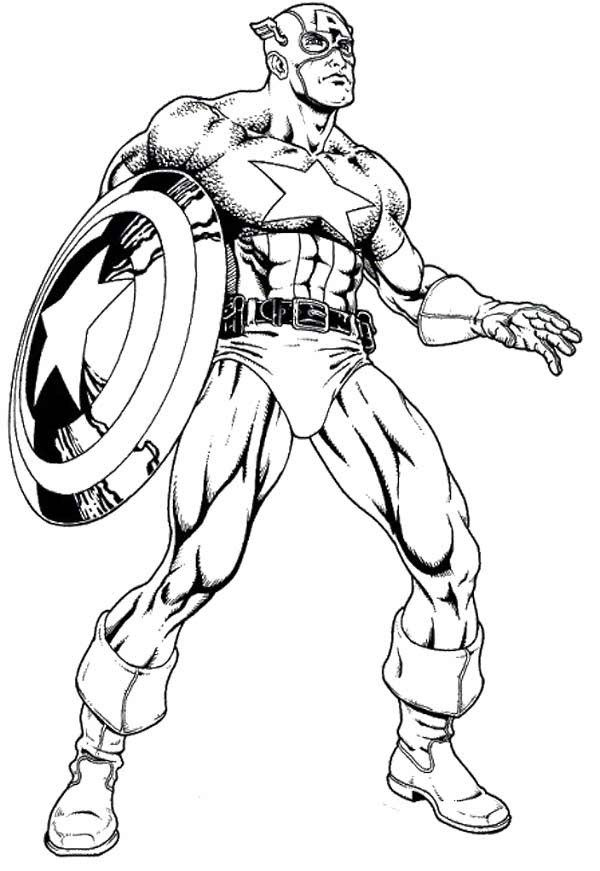 The Avenger Hero Captain America Coloring Page