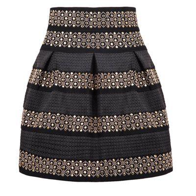 34,90EUR Rock Taillenrock schwarz mit Streifen Ornamenten