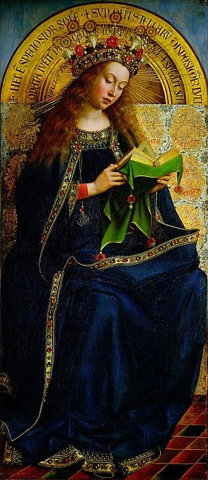 The Virgin Mary: one of 24 compartmental scenes on The Ghent Altarpiece, Saint Bavo Cathedral, Ghent, Belgium.  Work begun by Hubert van Eyck and after his death in 1426 completed in 1432 by his brother Jan van Eyck
