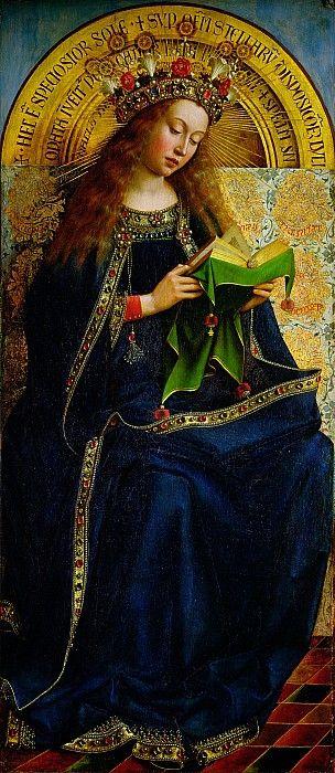 Jan and Hubert Van Eyck, L'Agneau mystique, Gand / Gent Saint Bavo Cathedral altarpiece, 1432, Madonna
