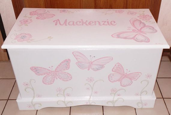 Custom Designed Butterfly Toy Chest with by originalsbybarbmazur