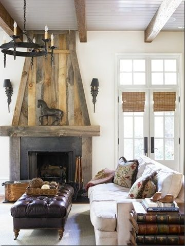 House and Flourish- Things to Love- Fireplaces: Mantels, Wood Fireplaces, Living Rooms, Barnwood, Rustic Fireplaces, Fireplaces Surroundings, House, Barns Wood, Fire Places