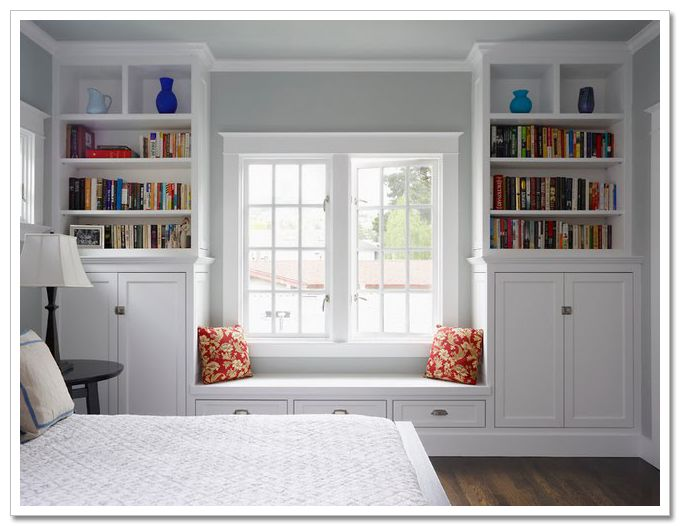 built-ins and window seat around a window for more storage space