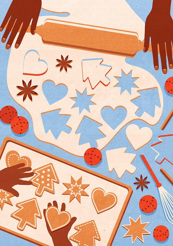 Kotryna Zukauskaite Christmas Campaign (Printed cards & web promo) Heart-Lung Foundation (Hjärt-Lungfonden)  Agency: Appelberg Publishing Group https://www.hjart-lungfonden.se/Julgava/ https://joaniebrep.com/kotryna-zukauskaite-81/ #illustration #christmas #cards #tree #cookies #snowman