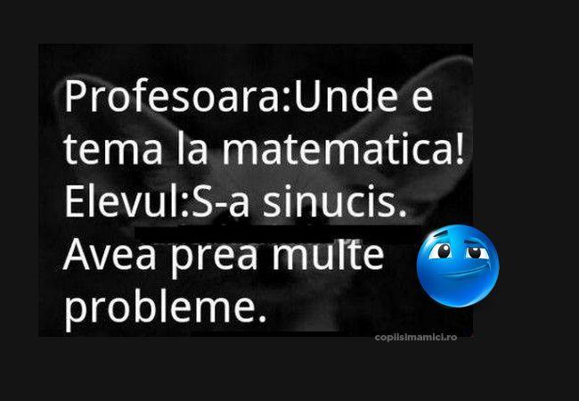 Unde Este Tema La Matematica  - Unde este tema la matematica? S-a sinucis! Cum adica? Pai avea prea multe rpobleme!