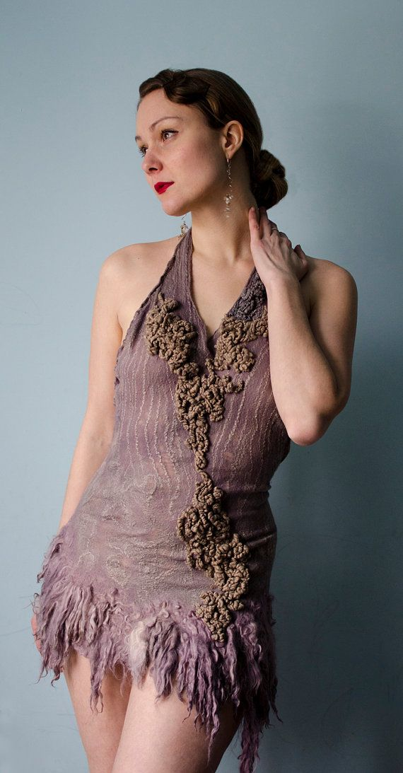custom order for Sophie Part 1 Nuno felted dress in by vilte, $150.00