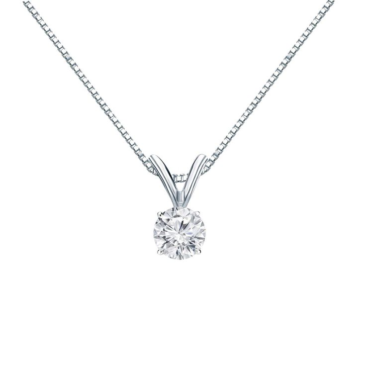 Auriya 18k Gold 1/4ct TDW Round Cut Diamond 4-Prong Solitaire Necklace