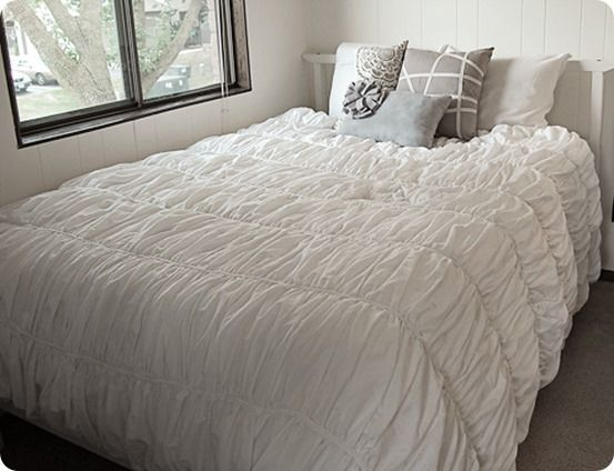 gathered and ruffled duvet cover howto inspired by the cirrus bedding from - Comforter Covers