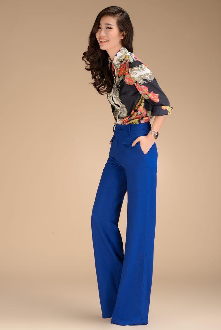 Aliexpress.com : Buy 2013 Autumn Fashion Formal Womens High Waist Blue Trousers , Woman Slim Elegant New Style Wide Leg Straight Pants For W...
