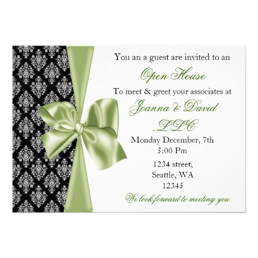 21 best open house invitation wording images on pinterest elegant stylish green corporate invitation stopboris Choice Image