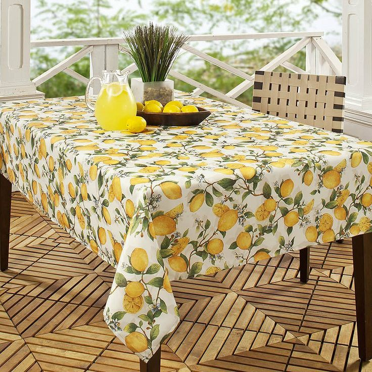 Benson mills lemon tree printed fabric for 120 inch dining room table
